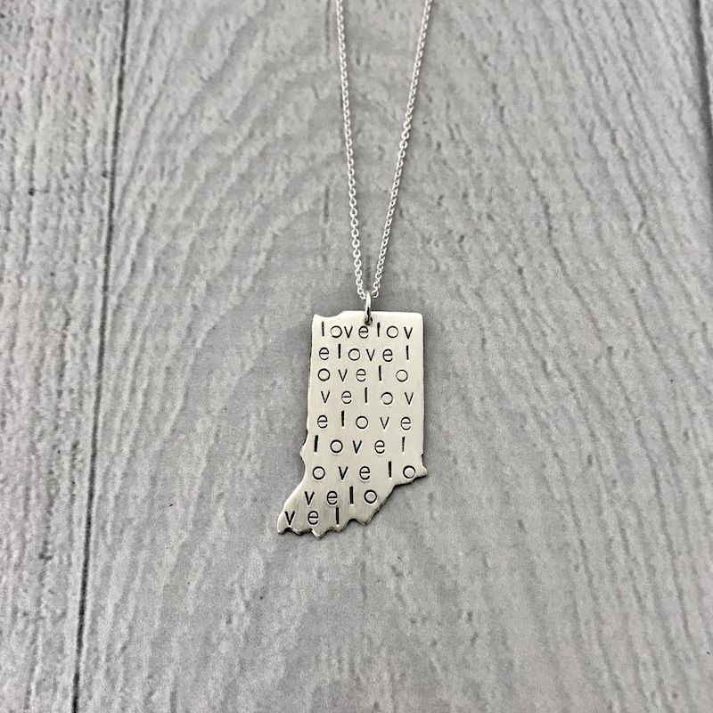 Sterling Silver Handstamped Large Indiana with Love Pattern Necklace, 18""