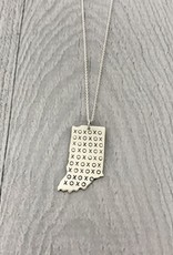 Sterling Silver Handstamped Indiana with Large XOXO Pattern Necklace, 18""