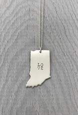 Sterling Silver Handstamped Large Indiana with Stacked LOVE Necklace, 18""