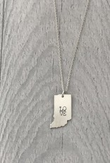 Sterling Silver Handstamped Tiny Indiana with stacked LOVE Necklace, 18""