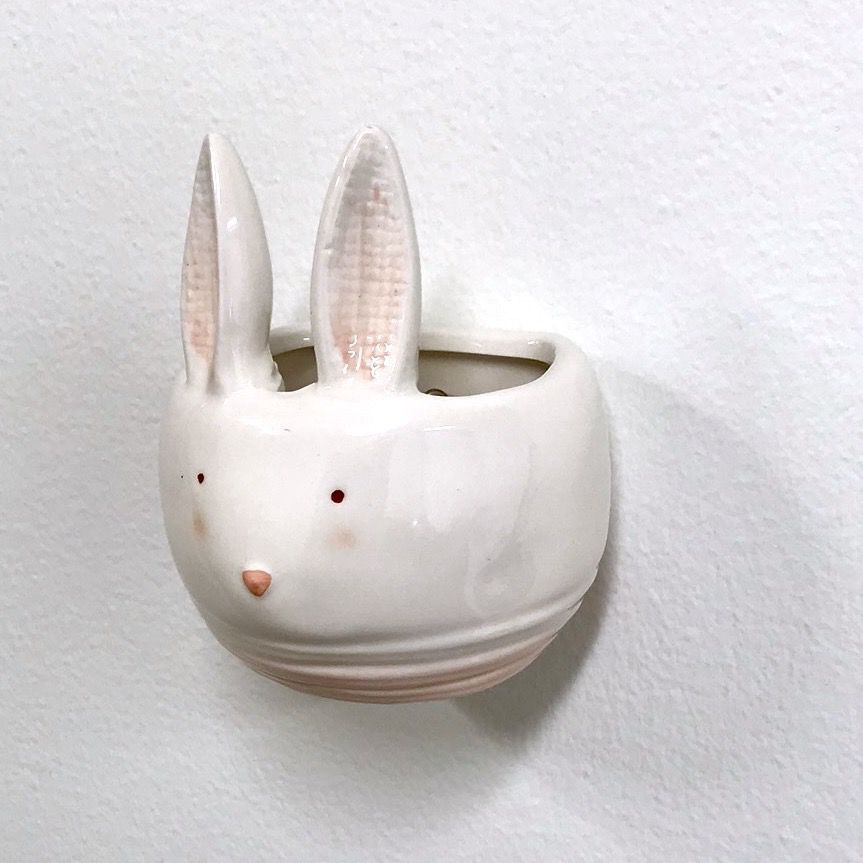 "3-1/2""L Rabbit Ceramic Wall Planter"