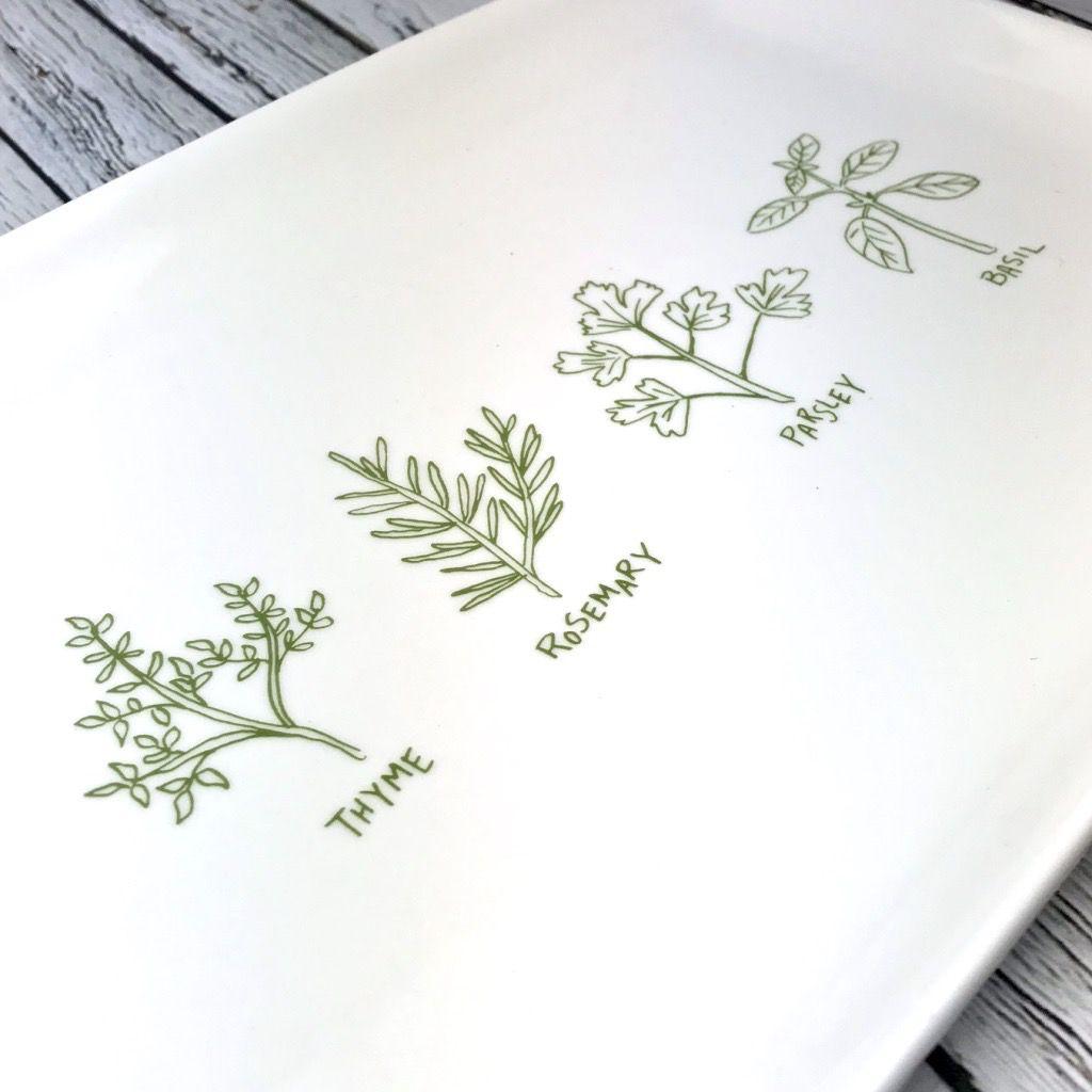 """12-1/2""""L Herbs Stoneware Platter"""