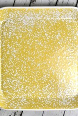 "11-3/4"" Sq Enamel Splatterware Platter Yellow"