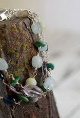 Handmade Sterling Silver Bracelet with triple strand connected aquamarine nuggets, amethyst ovals, kyanite ovals, medium matte amazonite, turquoise