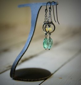 Handmade Sterling Silver Earrings with green fluorite coin, oxidized circle on chains, opal in center