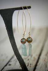 Handmade Sterling Silver Earrings with green kyanite stick, labradorite ball, long earwire