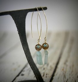 Handmade Sterling Silver Earrings with green kyanite stick, labradorite ball, long earwire