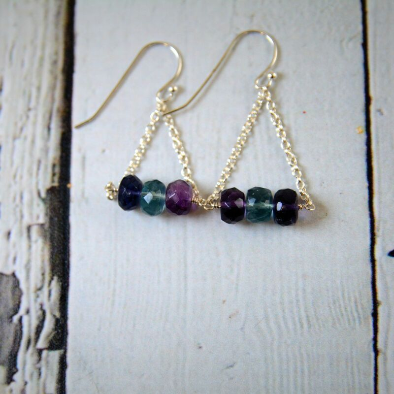 Handmade Sterling Silver Earrings with 3 fluorite center, shiny chains