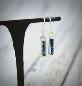 Handmade Sterling Silver Earrings with open shiny rectangle, stack 6 chrysocolla
