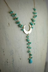 Handmade Sterling Silver Necklace with sleeping beauty turquoise connected w/dangles, shiny u center, sleeping beauty turquoise rondelle and briolette in center