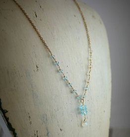 Handmade Sterling Silver Necklace with attached sky blue topaz and rainbow moonstone rondelles, stack 3 topaz discs, rainbow moonstone briolette