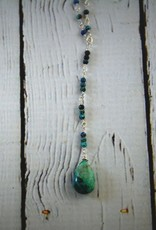 Handmade Sterling Silver Necklace with y: chrysocolla briolette, stations of 3
