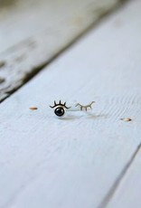 Sterling Silver and Hematite Winking Eye with Lashes Stud Earrings