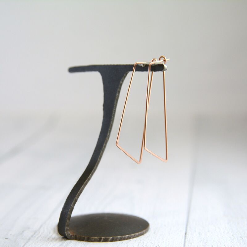 Rose Gold Filled Shift (Large Angled Rectangle) Minimal Hoop Earrings