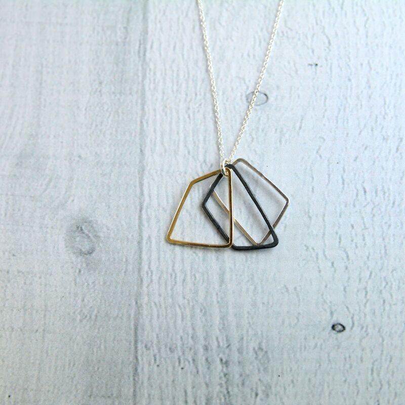 "Mixed Metals Refracting Petals Necklace (18"")"