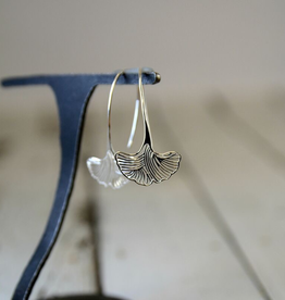 Sterling Silver Ornate Ginkgo Leaf Earrings