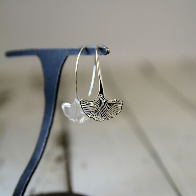 Sterling Silver Ornate Ginkgo Leaf Earrings