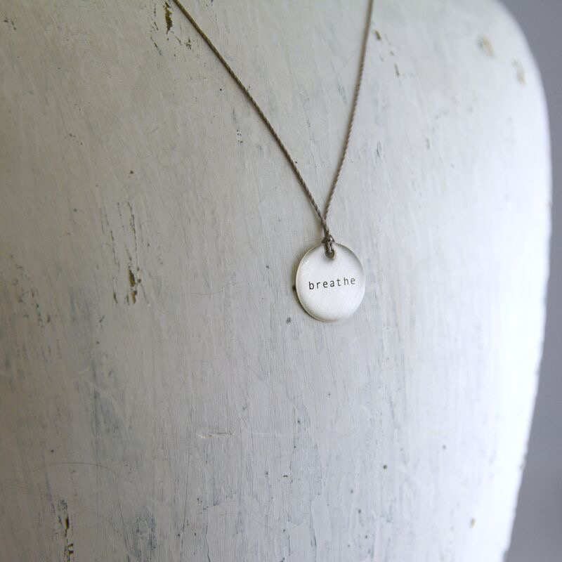"Breathe Mini Type Necklace on 16"" Cord"