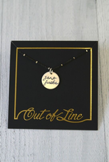 """Handstamped 18"""" Silver """"zero fucks"""" Charm Necklace by Out of Line"""