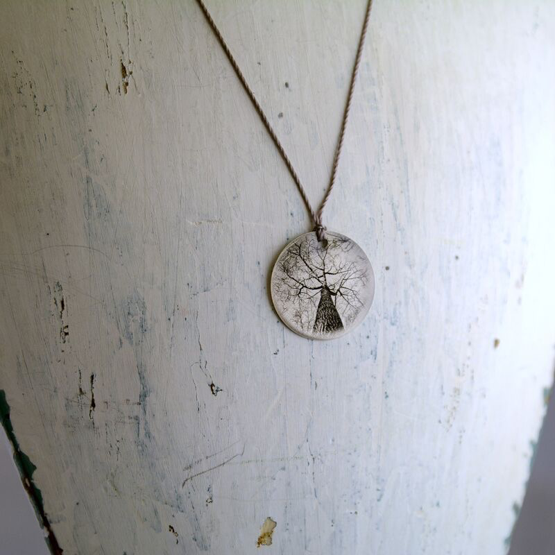Tall Tree Sterling Litho Necklace