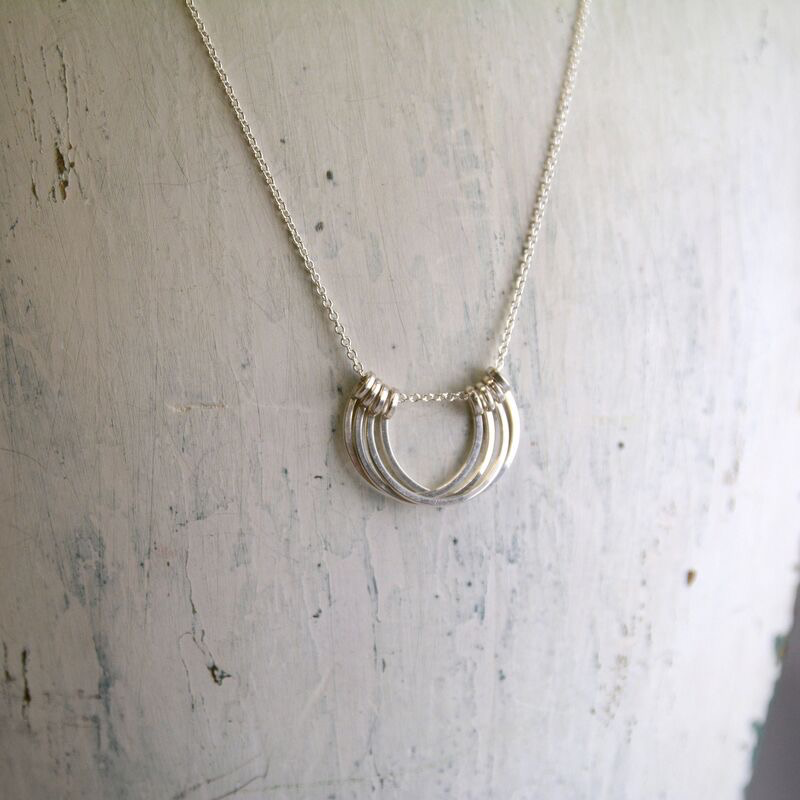 "Sterling Silver Small Honey Petals Necklace (18"")"