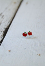 Sterling Silver and Red Enamel Apple Stud Earrings