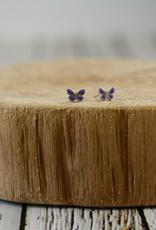 Sterling Silver with Purple Enamel Enamel Butterfly Stud Earrings