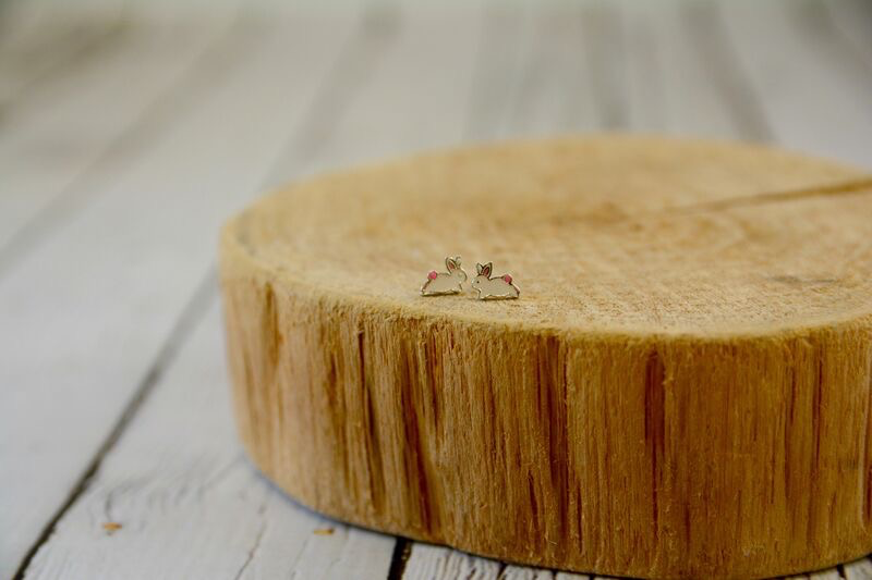 Sterling Silver with White and Pink Enamel Bunny Stud Earrings