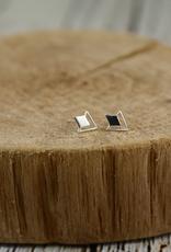 Sterling Silver Geometric Diamond Stud Earrings