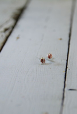 Sterling Silver and Red Enamel Ladybug Stud Earrings
