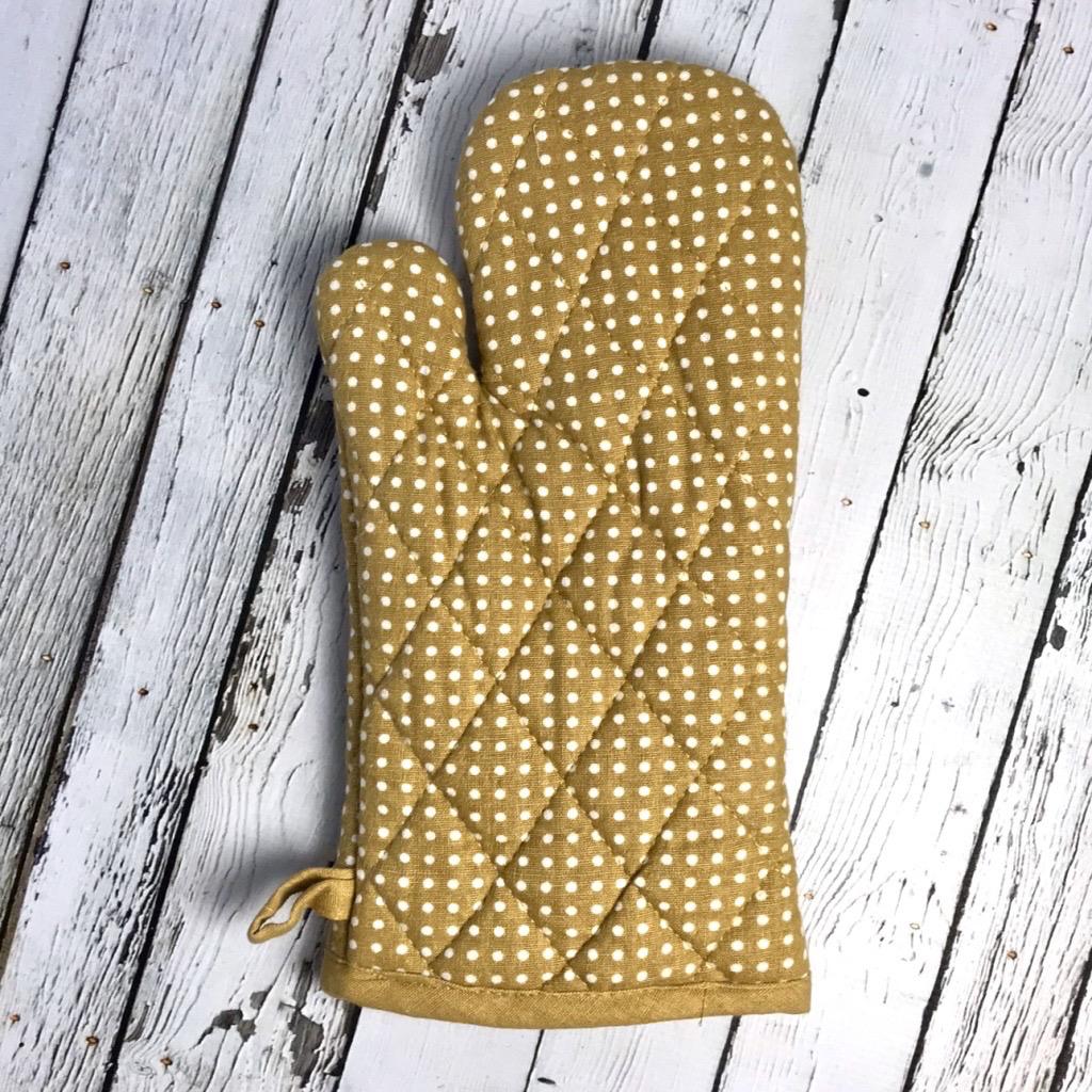 """12-1/4""""L x 7""""W Cotton Polka Dot Hot Mitt, Mustard"""