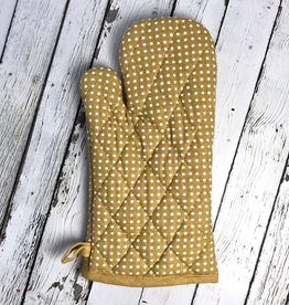 "12-1/4""L x 7""W Cotton Polka Dot Hot Mitt, Mustard"