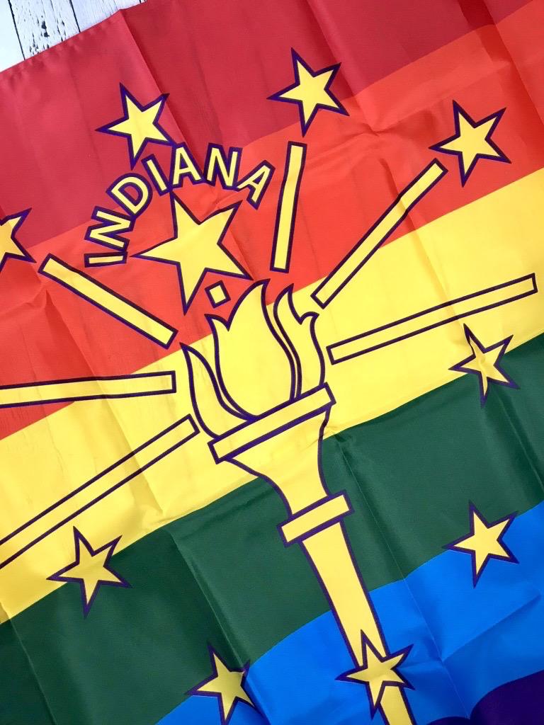 Indiana Rainbow Pride Flag