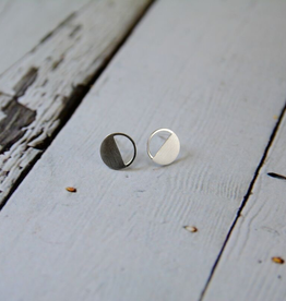 Matte Sterling Silver Half-filled Circle Stud Earrings