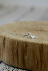 Matte Sterling Silver Dinosaur Earrings