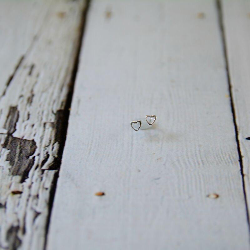 Sterling Silver Open Heart Stud Earrings