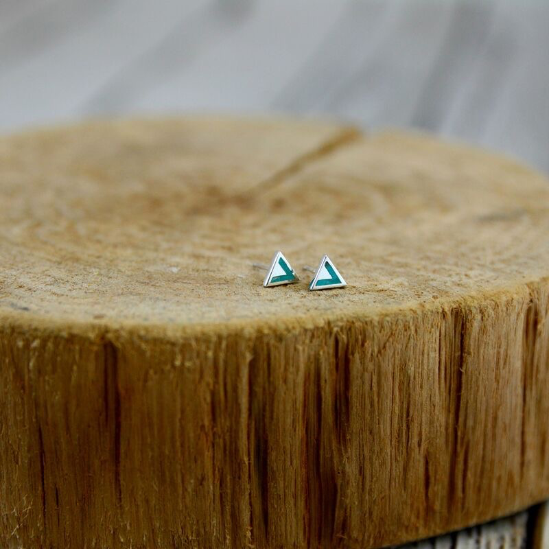 Sterling Silver and Turquoise Triangle Stud Earrings