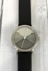 Hatch Steel Watch, 40mm Silver Face with Black Leather Band
