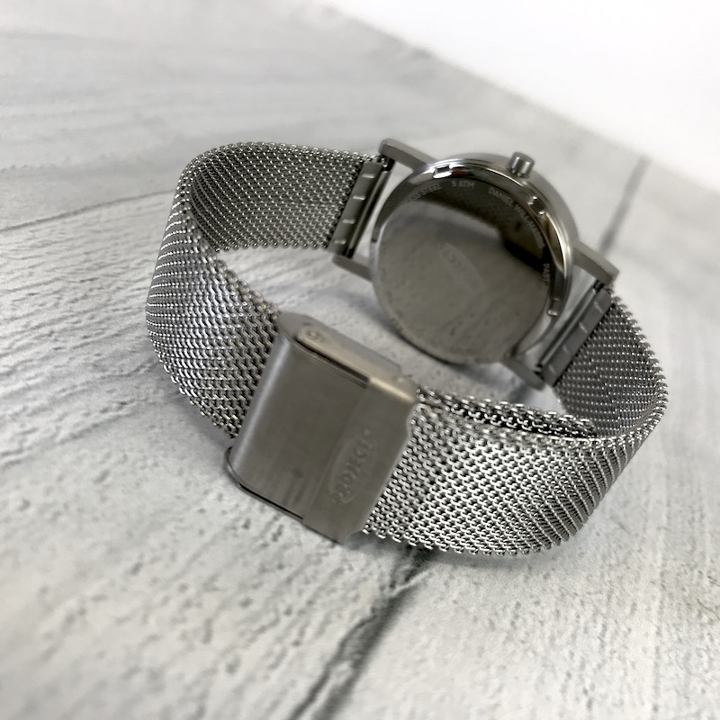 Past, Present, Future Watch, White 33mm Face with Stainless Steel Mesh Band