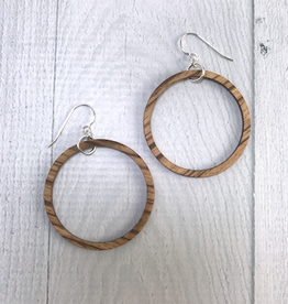 Handmade Striped Beach Wood Hoop Earrings | SMALL