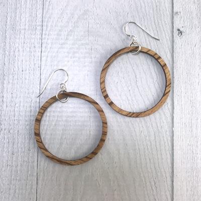 Handmade Striped Beach Wood Hoop Earrings | SMALL