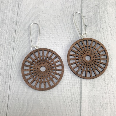 Full Circle Earrings / Long Length | MEDIUM WOOD