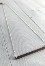 "Handmade 20"" Wood and Silver Horizon Necklace"