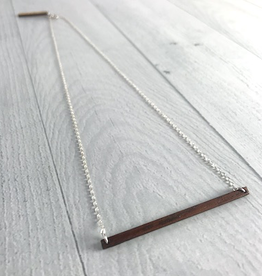 """Handmade 20"""" Wood and Silver Horizon Necklace"""