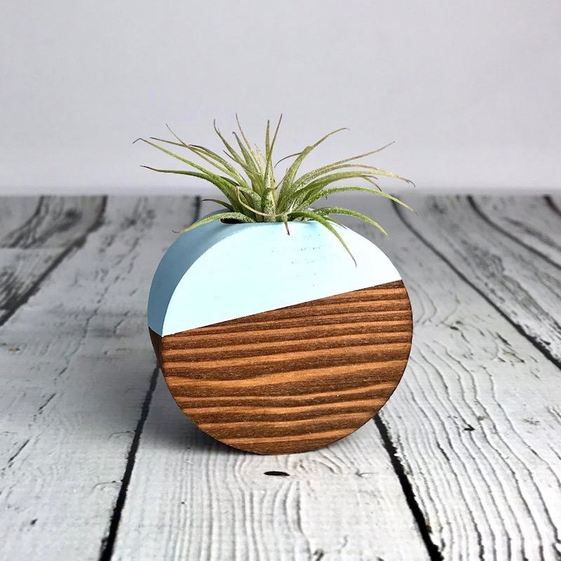 Wood and Pale Blue Geo Magnetic Air Plant Holder