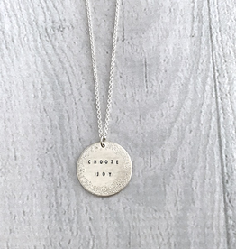 CHOOSE JOY Sterling Silver Diamond Dusted Small Coin Necklace