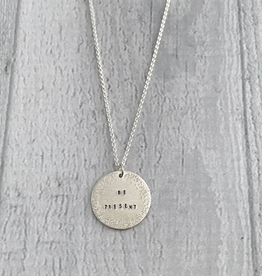 BE PRESENT Sterling Silver Diamond Dusted Small Coin Necklace