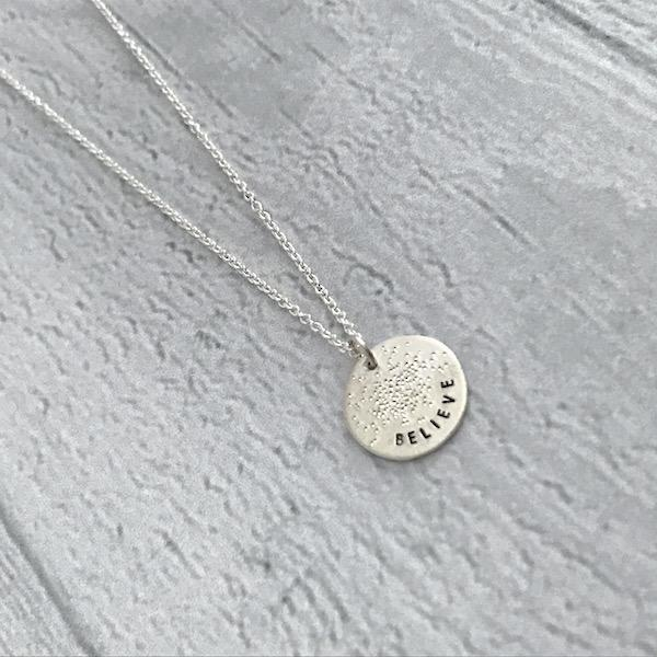 BELIEVE Sterling Silver Diamond Dusted Mini Coin Necklace