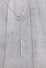 "26"" Sterling Silver Diamond Dusted Oval and Bar Lariat Necklace"