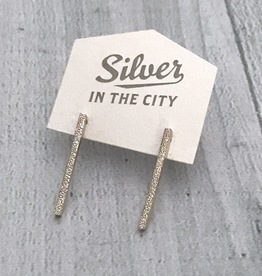 Handmade Diamond Dusted | sterling silver medium column studs
